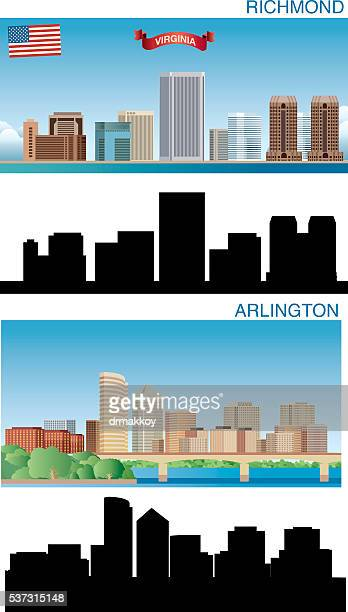 arlington and ricmond skyline - virginia stock illustrations, clip art, cartoons, & icons
