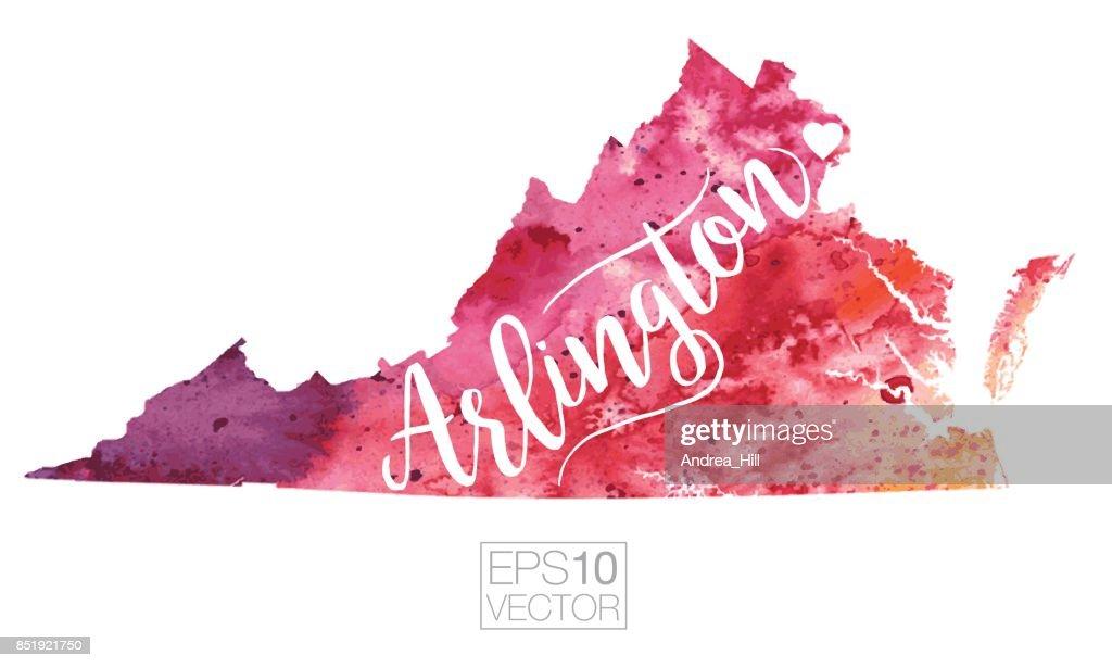 Map Of Virginia 1750.Arlington Virginia Usa Vector Watercolor Map Vector Art Getty Images