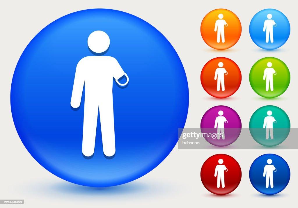 Brazo amputado icono de círculo brillante Color botones : Ilustración de stock