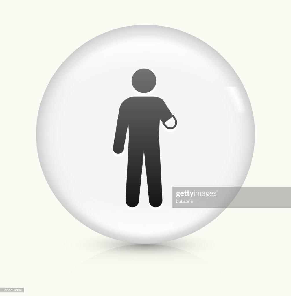 Arm Amputee icon on white round vector button : Ilustración de stock