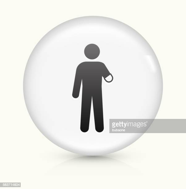 Arm Amputee icon on white round vector button