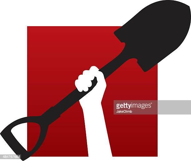 arm holding shovel icon - trowel stock illustrations, clip art, cartoons, & icons