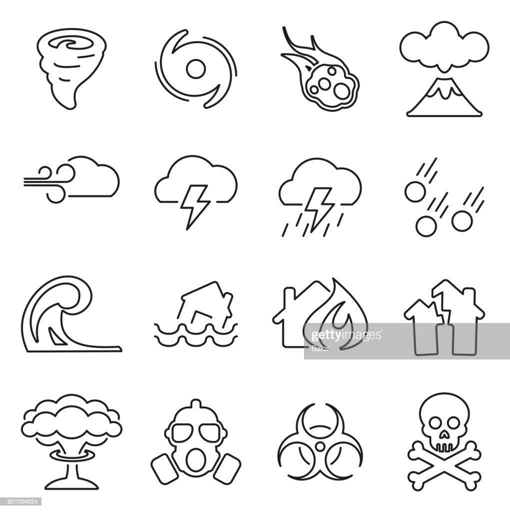 Armageddon or Disaster Icons Thin Line Vector Illustration Set