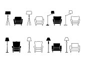 Armchair icon set. Illustration of lounge pictogram on white