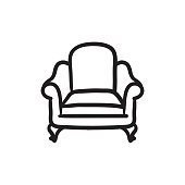 Armchair sketch icon