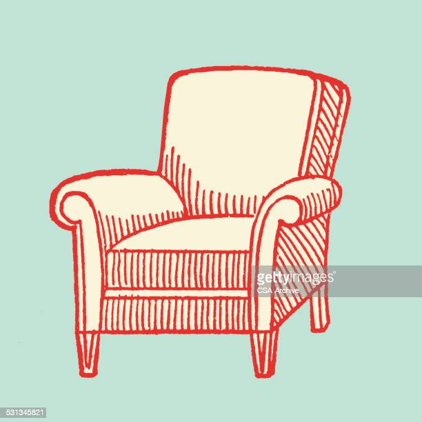 armchair - chaise stock illustrations, clip art, cartoons, & icons