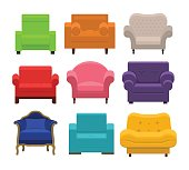 Armchairs collection in flat style.