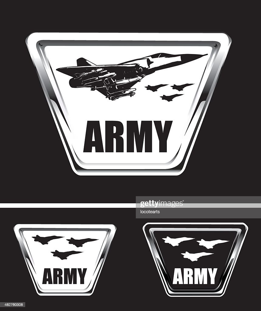 armed army shields with combat airplane