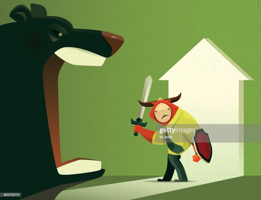 armed bull defending bear