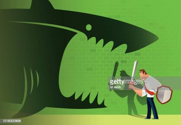 武装した実業家守る怒ってサメ - デイフェンス点のイラスト素材/クリップアート素材/マンガ素材/アイコン素材