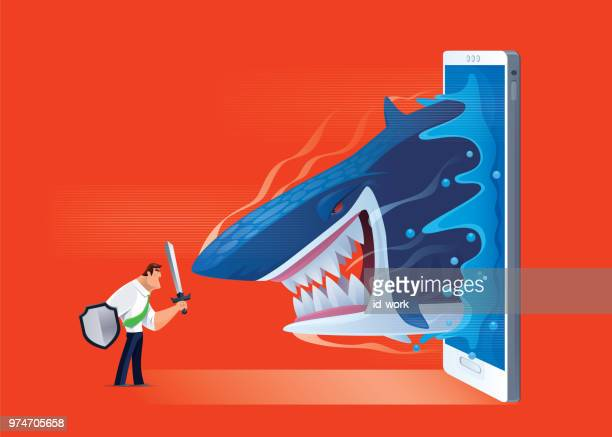 armed businessman defending angry shark - attacking stock illustrations, clip art, cartoons, & icons