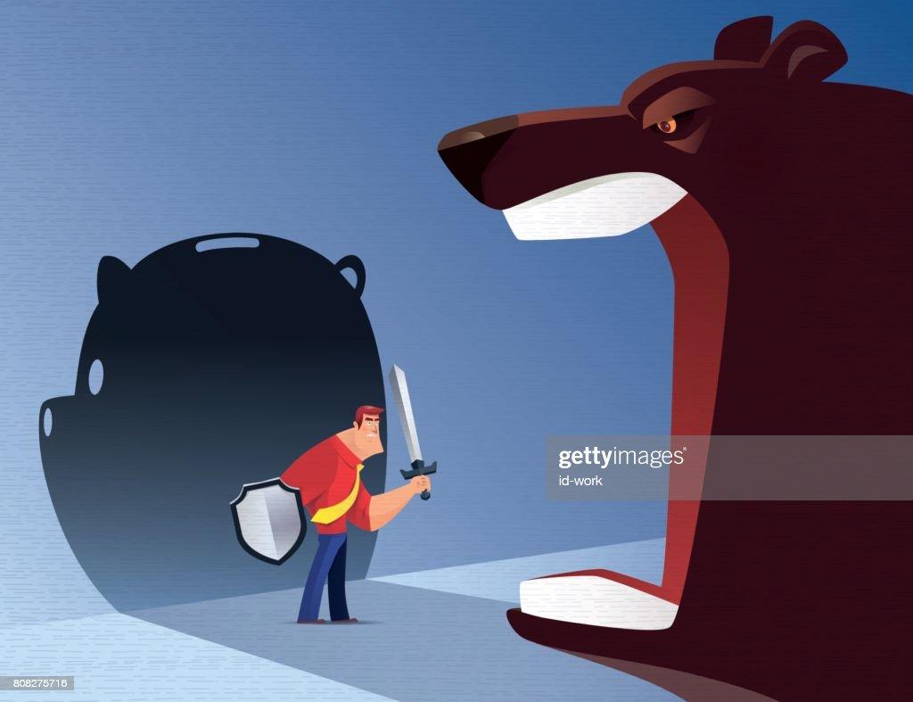 armed businessman defending roaring bear