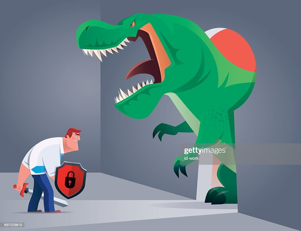 armed businessman fighting against angry dinosaur