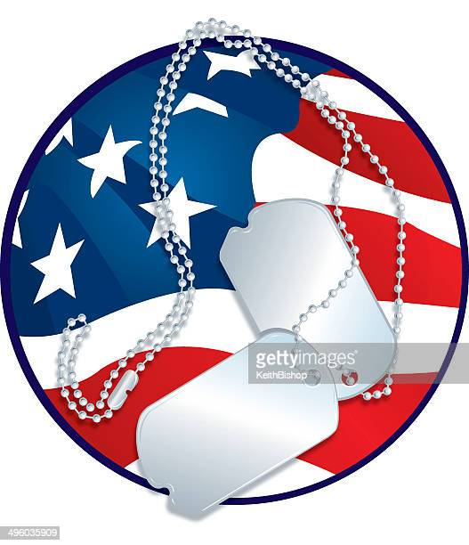 armed forces - dog tags and american flag graphic - military stock illustrations
