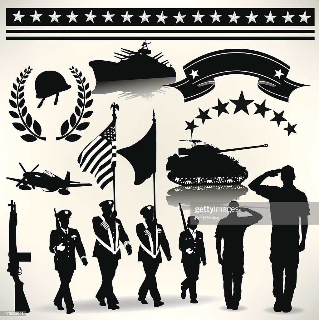 US Armed Forces, Military Parade, Salute, Army, Navy, Air Force : stock illustration