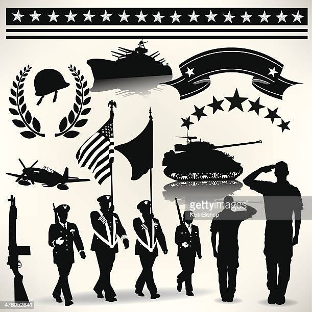 us armed forces, military parade, salute, army, navy, air force - world war ii stock illustrations