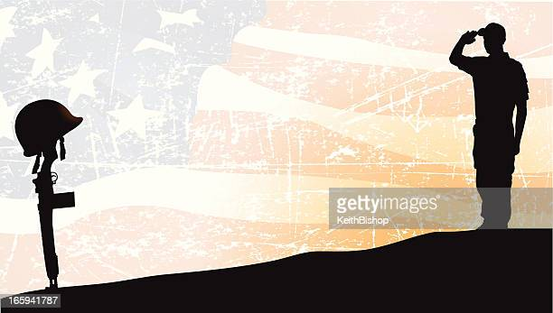Armed Forces, Soldier Saluting Fallen Comrade, American Flag Background