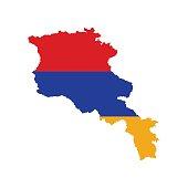Armenia flag and map