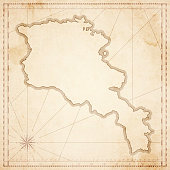 Armenia map in retro vintage style - old textured paper