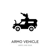 armo vehicle icon vector on white background, armo vehicle trendy filled icons from Army and war collection