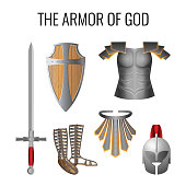 Armor of God elements set isolated on white. Vector