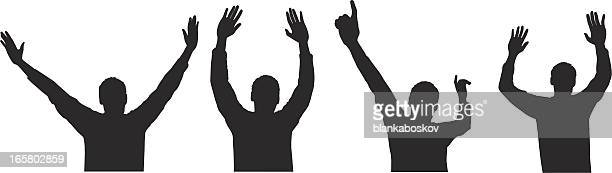 arms raised - applauding stock illustrations, clip art, cartoons, & icons
