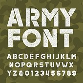 Army alphabet font. Scratched bold type letters