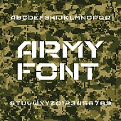 Army alphabet font. Sseamless pixel camo background.