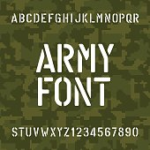 Army alphabet font. Stencil type letters and numbers.