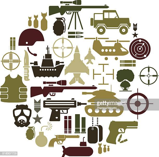 army and military icon set - conflict stock illustrations