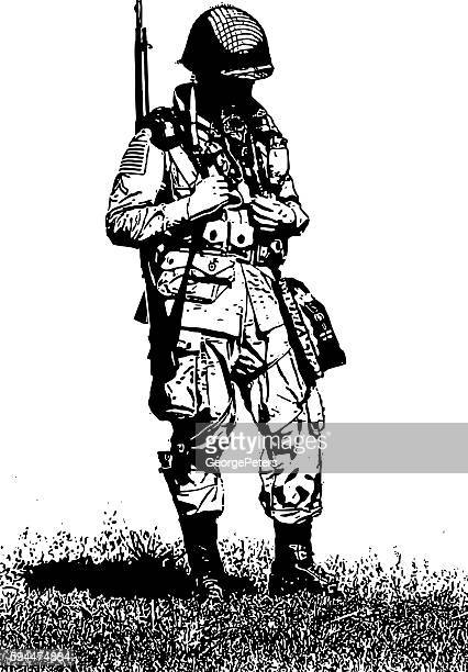 ww2 army combat soldier - world war ii stock illustrations