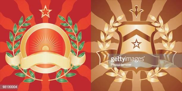 ilustraciones, imágenes clip art, dibujos animados e iconos de stock de ejército emblems - socialismo