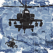 Army grunge background with helicopter