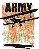 army grunge background with plane