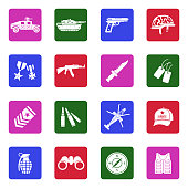 Army Icons. White Flat Design In Square. Vector Illustration.