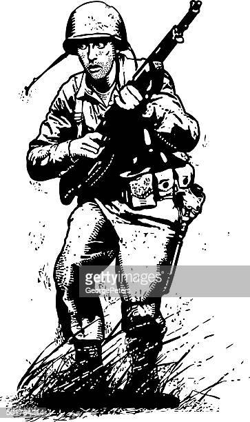 us army infantry soldier in combat. isolated on white. - military personnel stock illustrations, clip art, cartoons, & icons