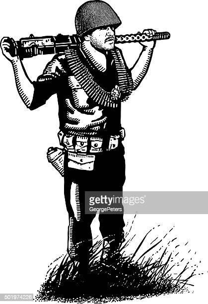 us army infantry soldier in combat. isolated on white. - korean war stock illustrations, clip art, cartoons, & icons