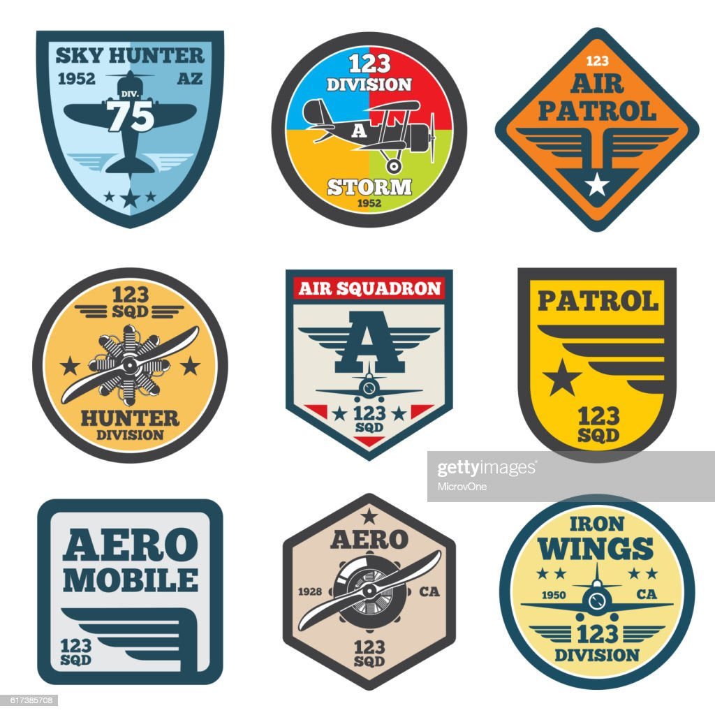 Army jet, aviation, air force vector labels, patch badges, emblems