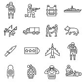 Army, line icons set. Editable stroke