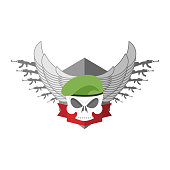 Army logo Skull. Soldiers badge. Military emblem. Wings and weap