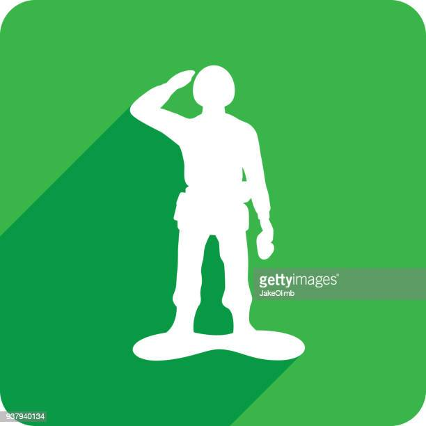 army man icon silhouette 1 - military personnel stock illustrations, clip art, cartoons, & icons