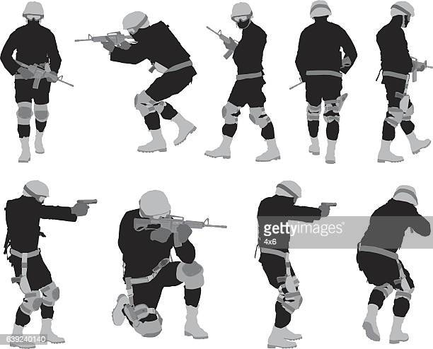 army man in various action with rifle - special forces stock illustrations, clip art, cartoons, & icons
