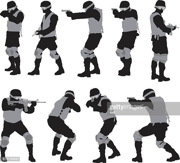army man in various actions - special forces stock illustrations, clip art, cartoons, & icons
