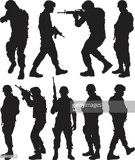 army man in various actions - army soldier stock illustrations
