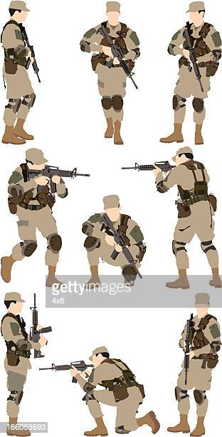 army man with a rifle - army soldier stock illustrations