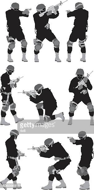 army men in action with rifle - special forces stock illustrations, clip art, cartoons, & icons