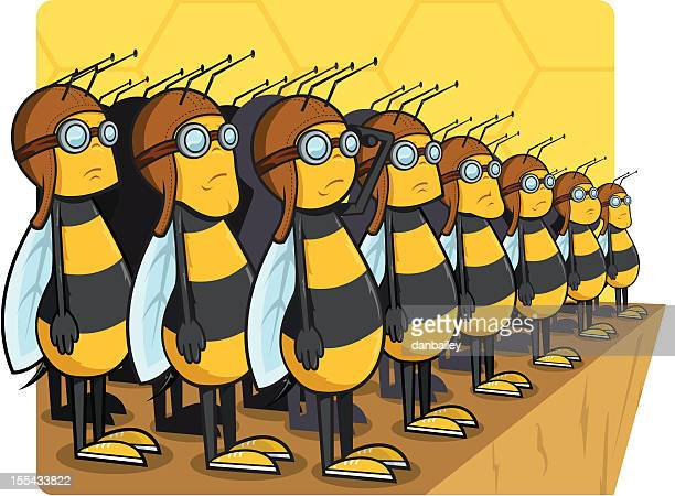 army of bees - saluting stock illustrations
