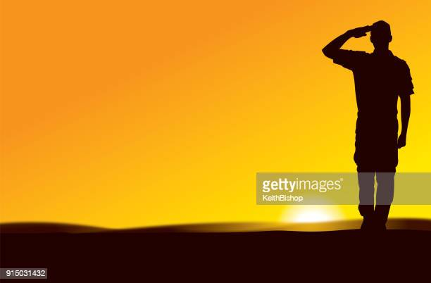us army soldier saluting at sun rise or sun set - world war ii stock illustrations