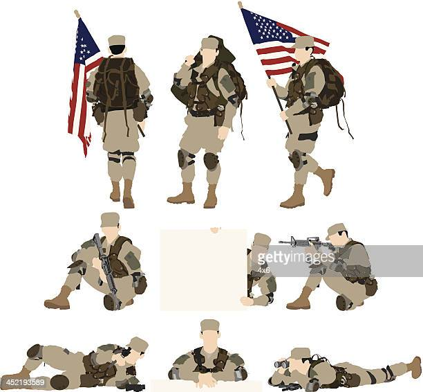 army soldier - military personnel stock illustrations, clip art, cartoons, & icons