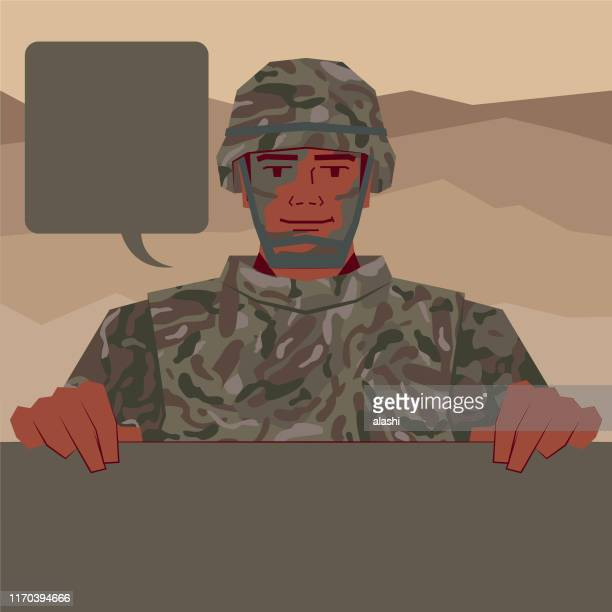 army soldier with army helmet and bulletproof vest holding blank sign - us military stock illustrations